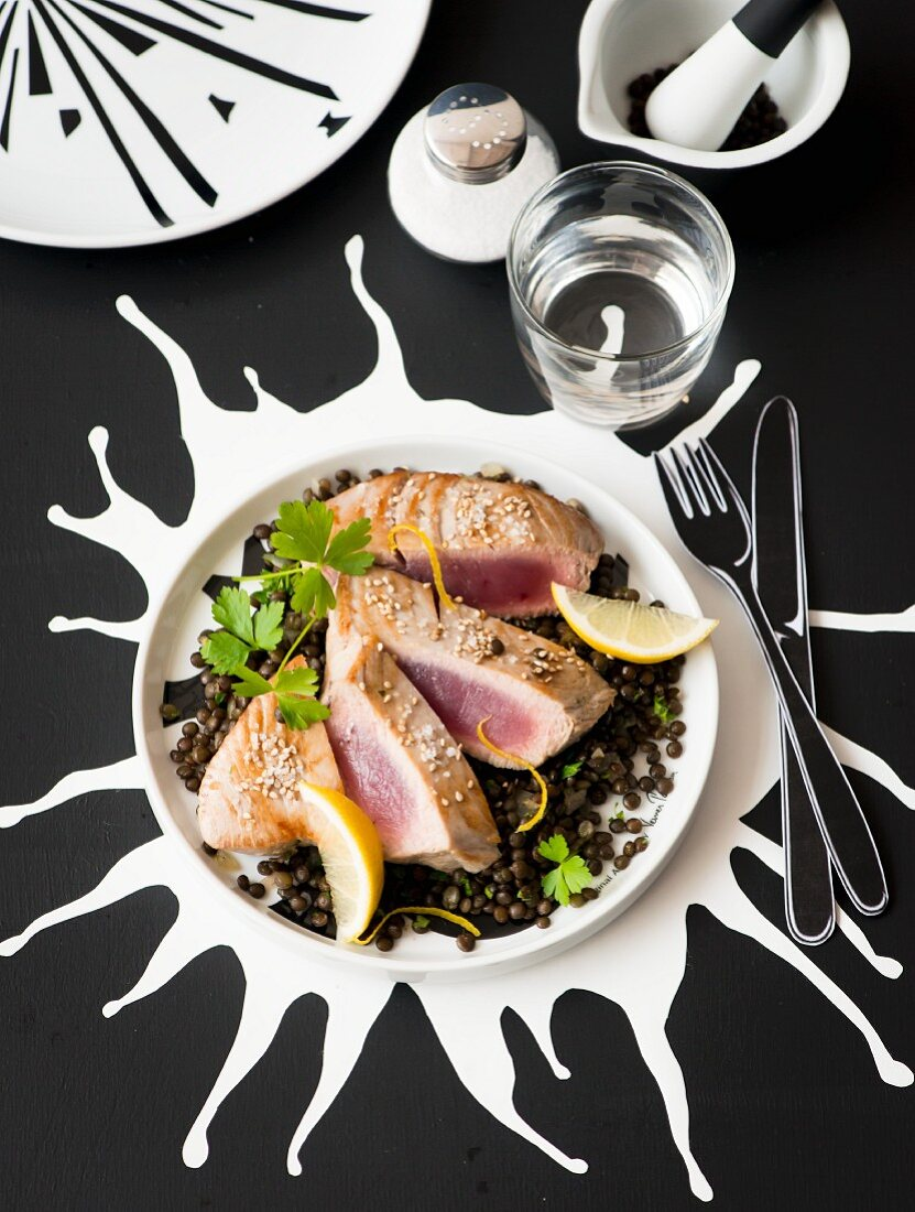 Tuna fish steak on a lentil medley