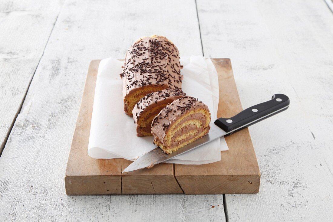 Creamy chocolate Swiss roll