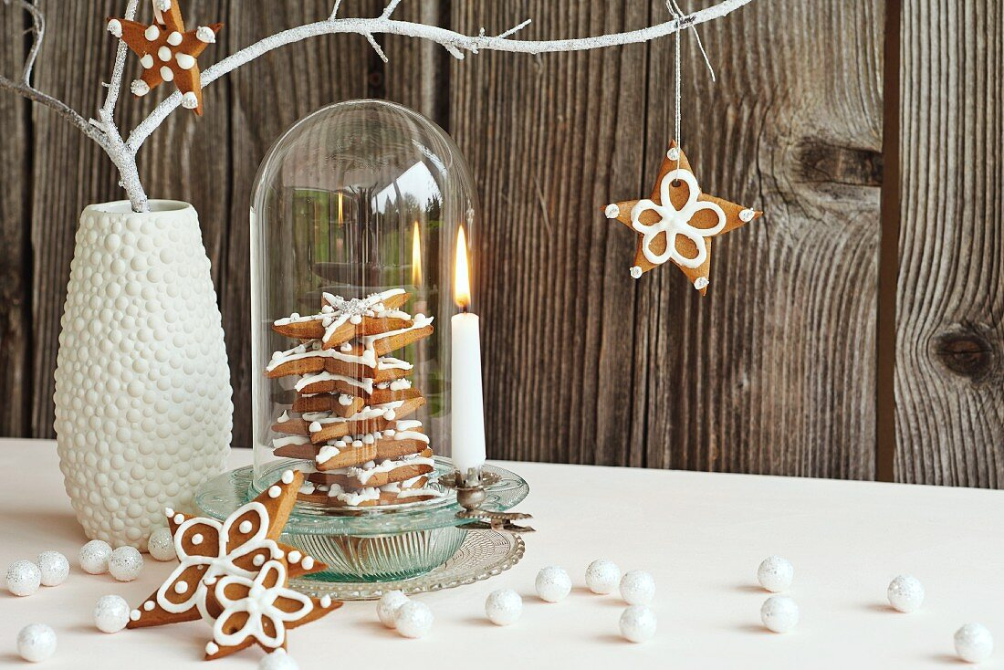 Gingerbread stars hung from branch and in dish under glass cover next to lit candle