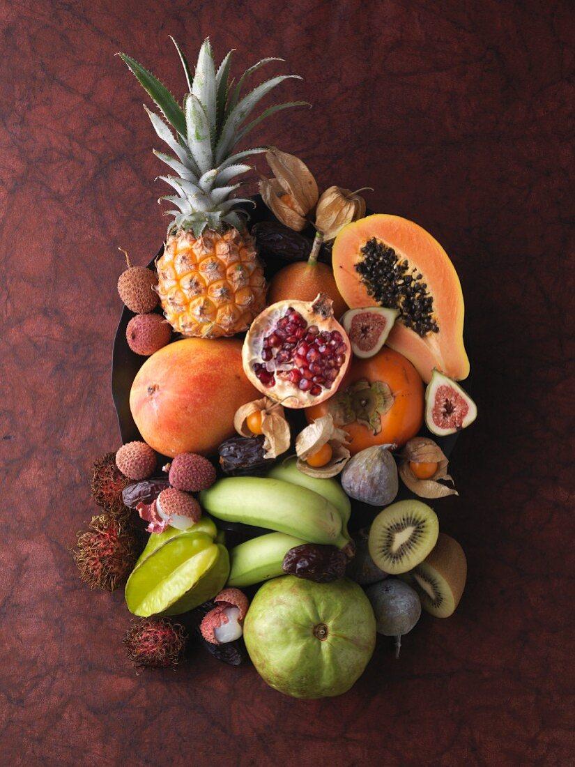 An arrangement of various exotic fruits