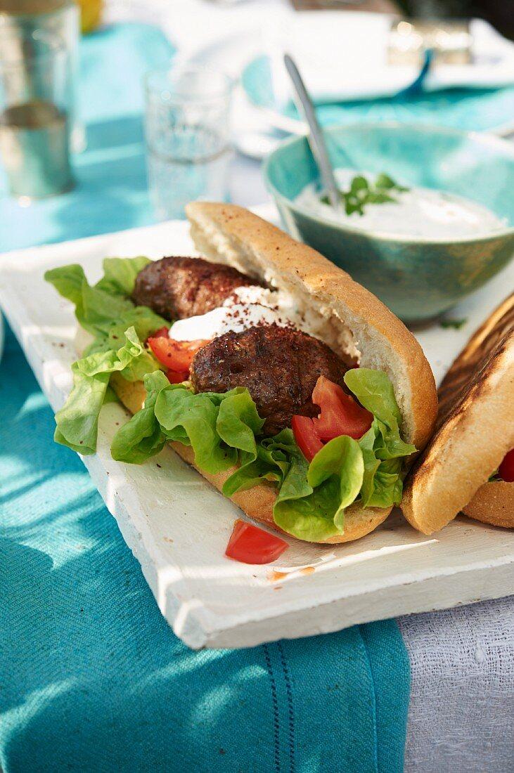 Grilled kofta sandwich