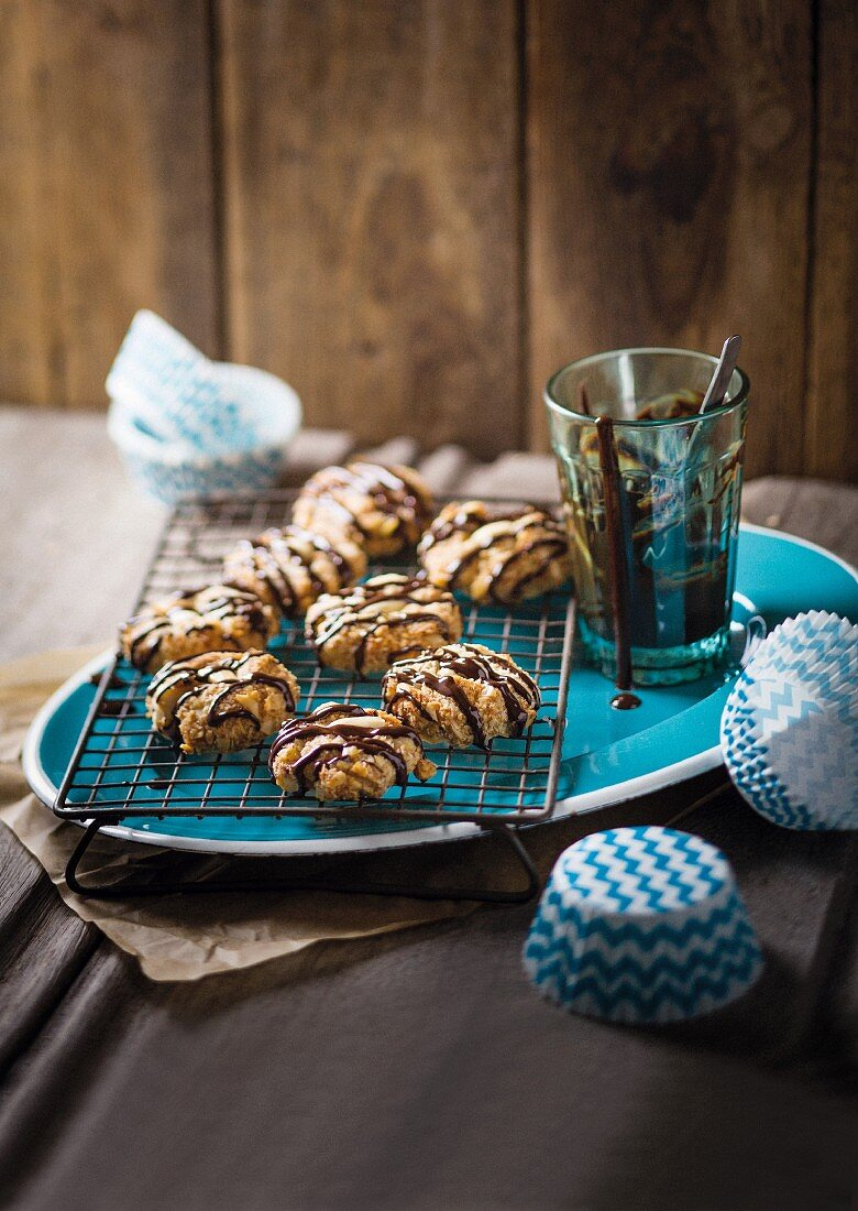 Nut biscuits with chocolate glaze