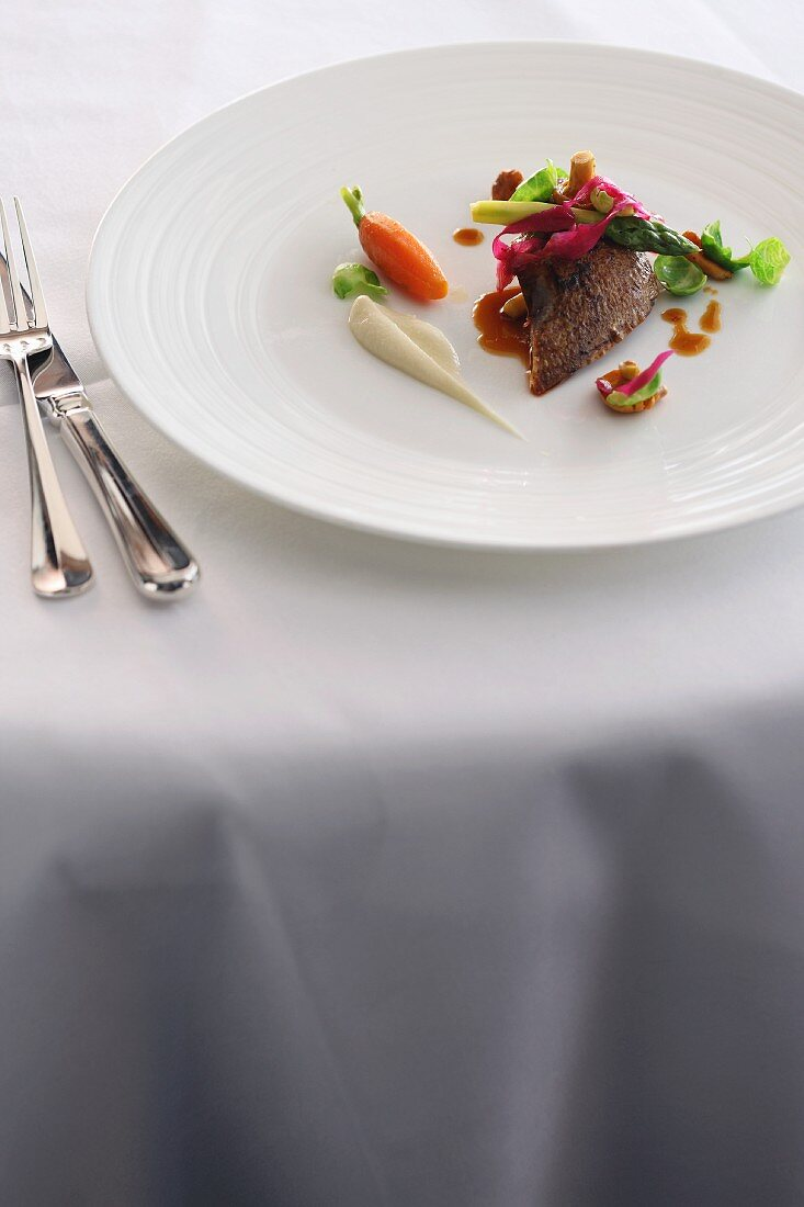 Pigeon breast with young vegetables