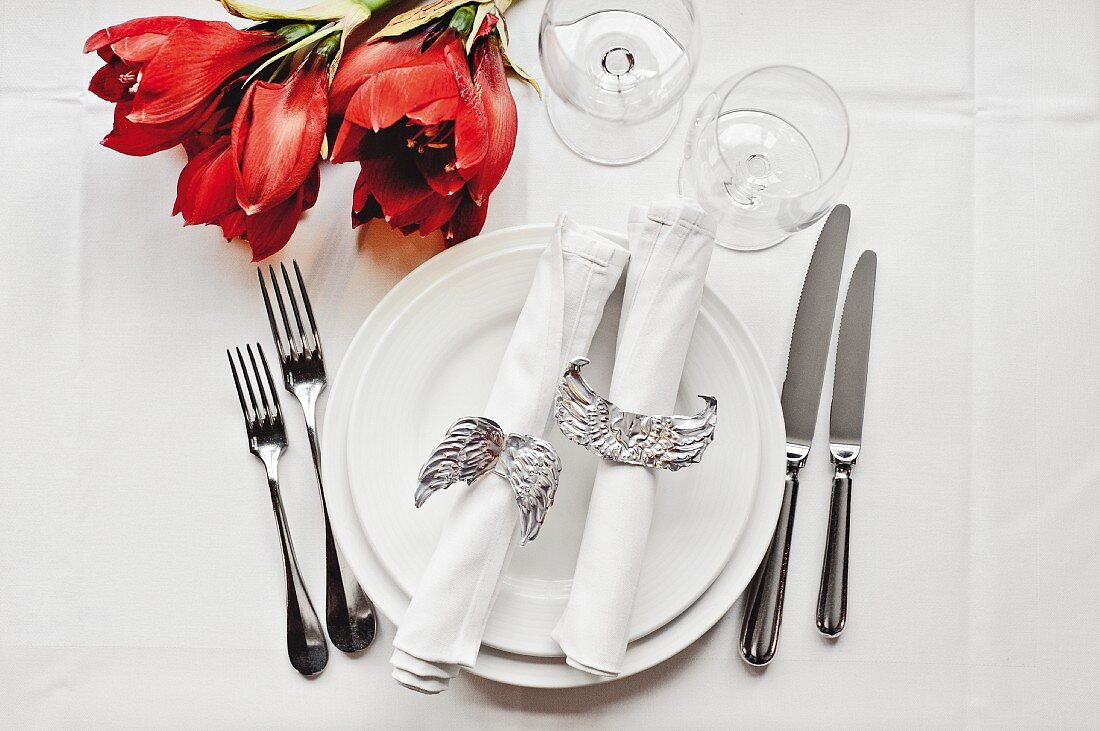 Hand-crafted, angel-wing napkin rings