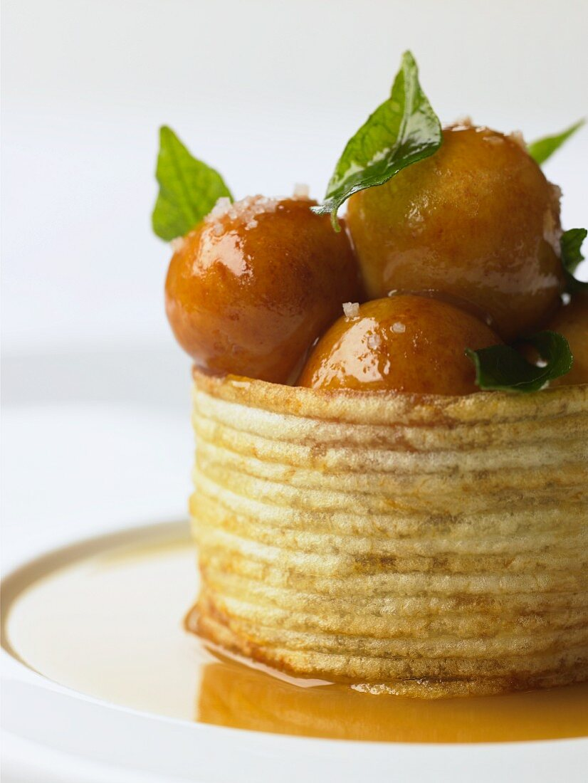 Gulab Jamun (Indian milk balls in syrup) in a fried potato basket