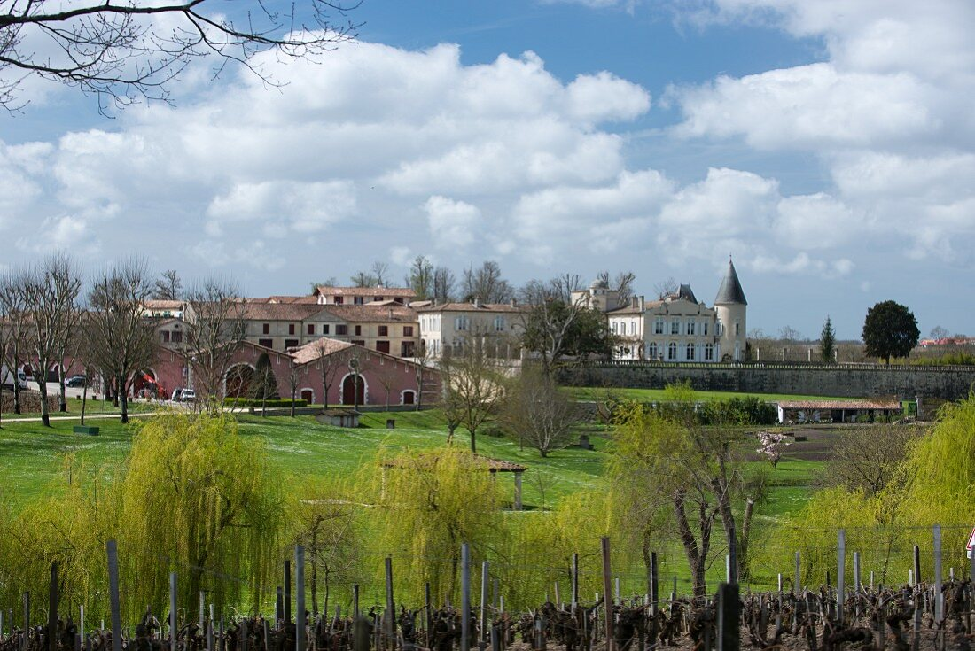 A view of the grounds and the buildings of Chateau Lafite-Rothschild (Bordeaux, France)