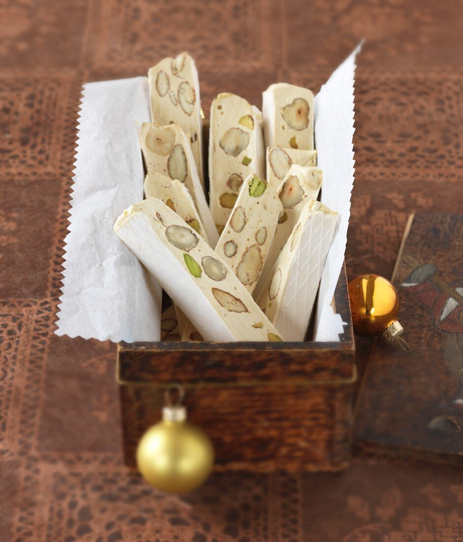 Provençal nougat with almond and pistachio nuts
