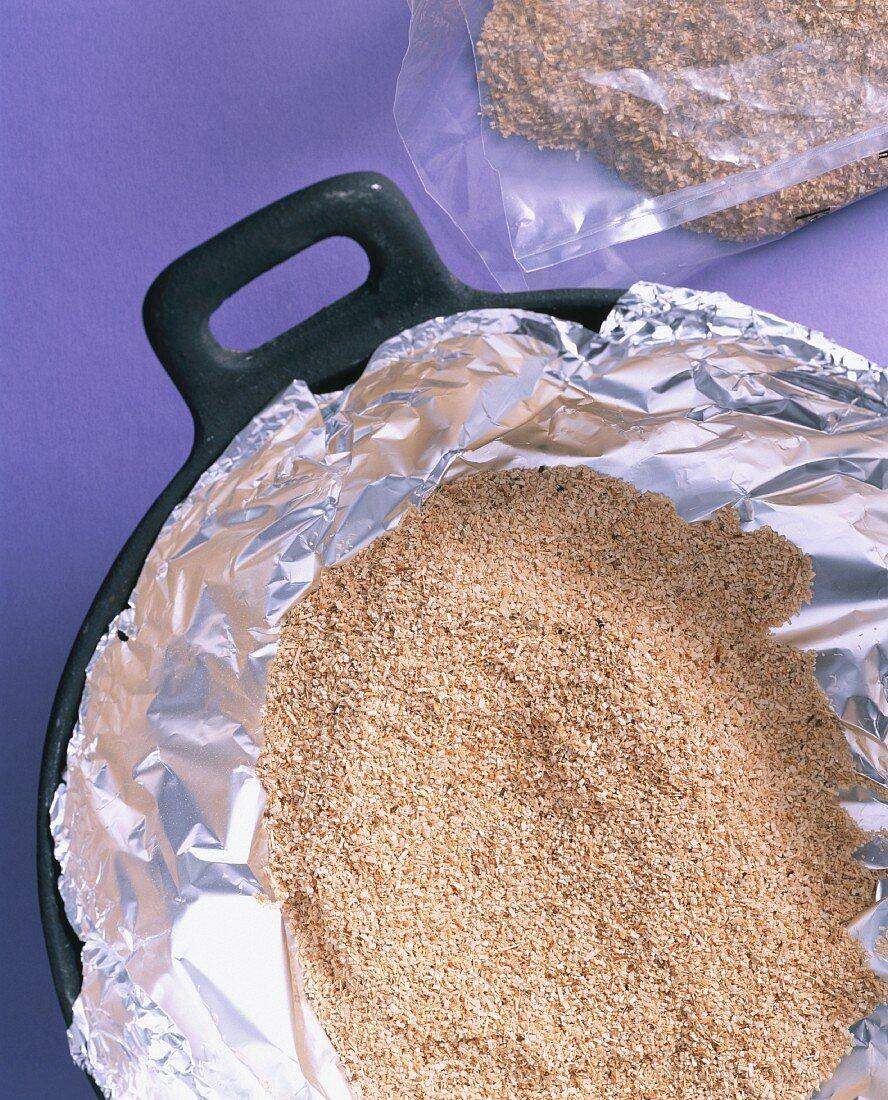 Smoked flour on aluminium foil