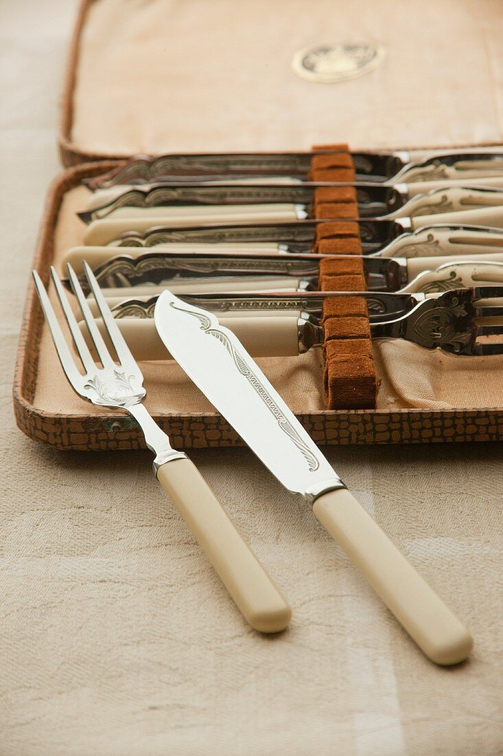 Antique fish cutlery in a case