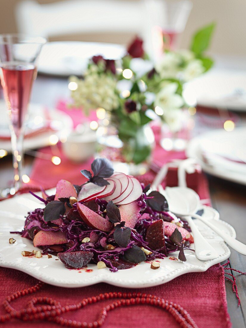 Red cabbage and beetroot salad with apple and radish