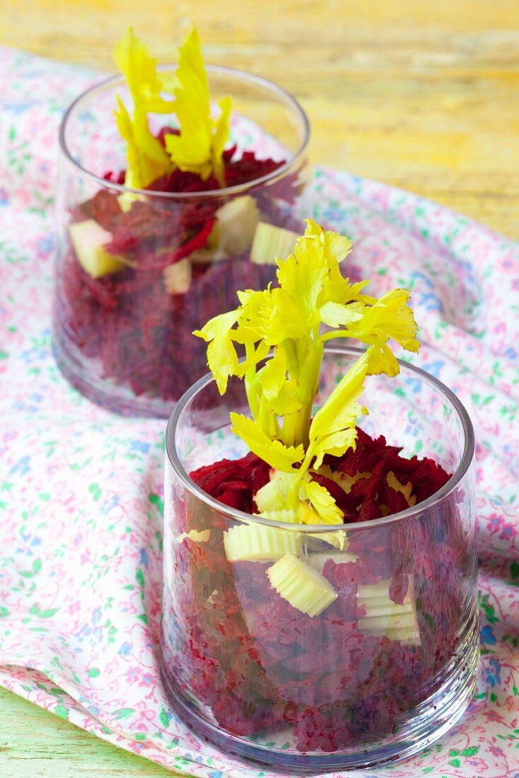 Beetroot salad with celery
