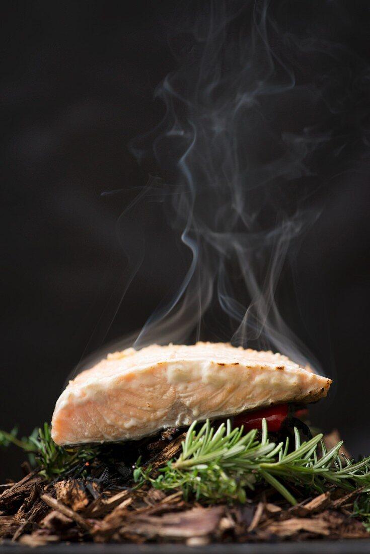 Wild salmon being smoked