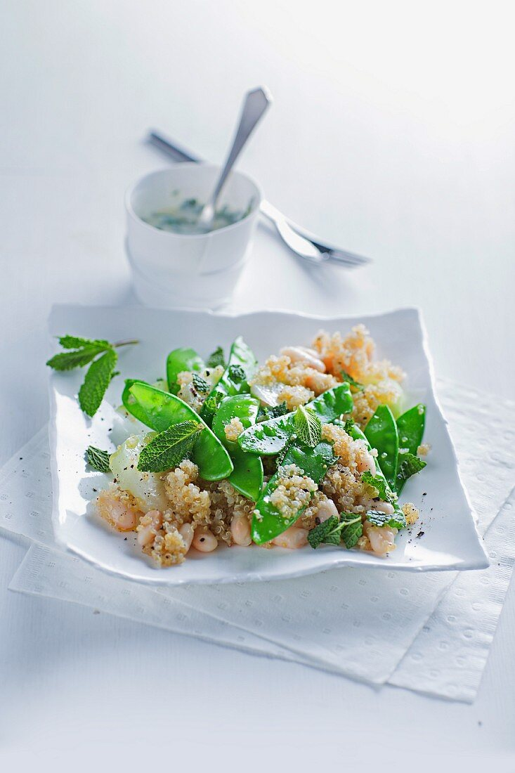 Quinoa with vegetables and mint yoghurt