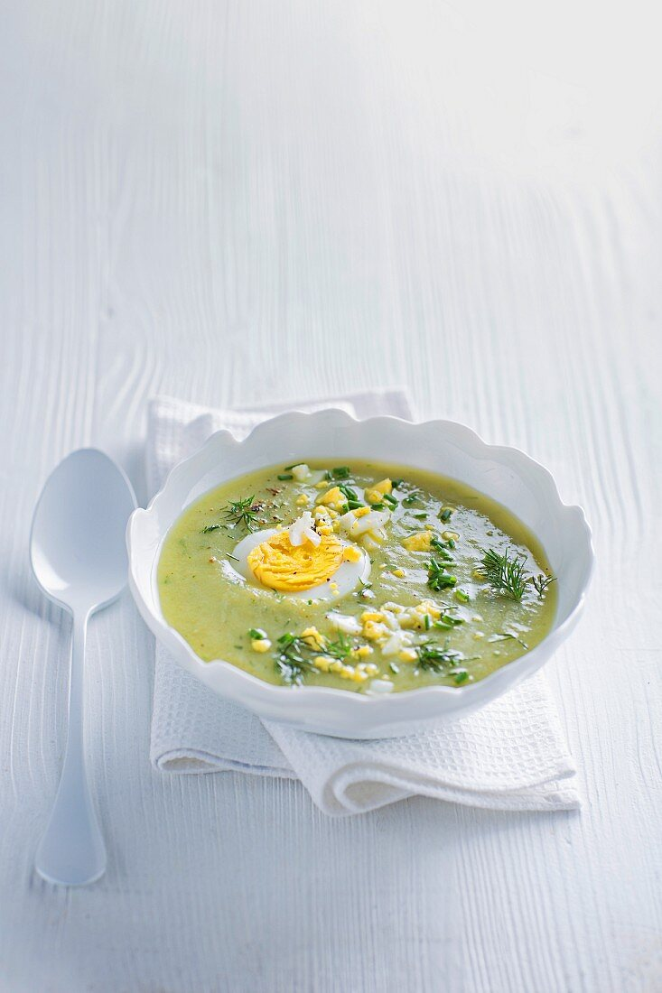 Cream of herb soup with egg