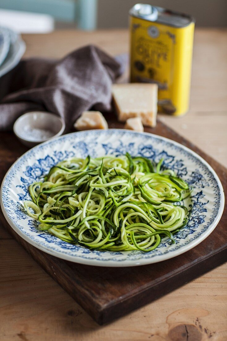 Courgette noodles, Parmesan cheese and olive oil