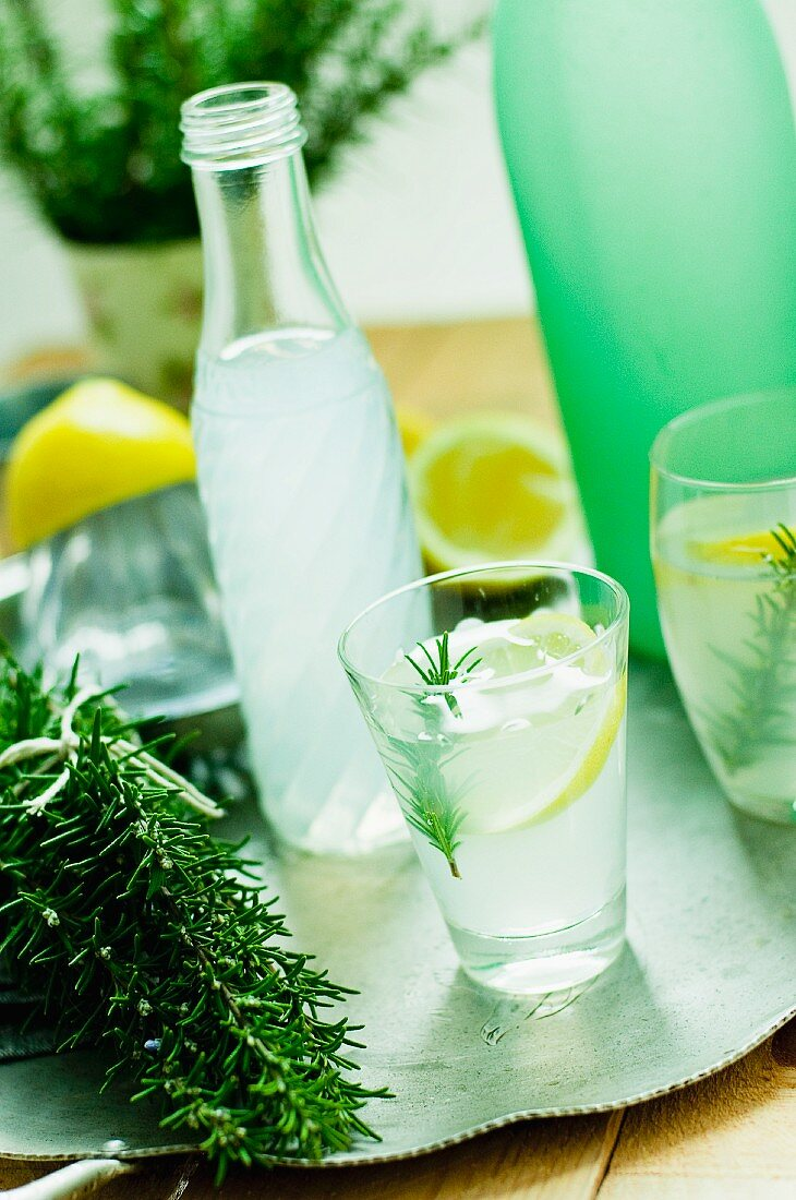 Cold lemonade with a hint of fresh rosemary
