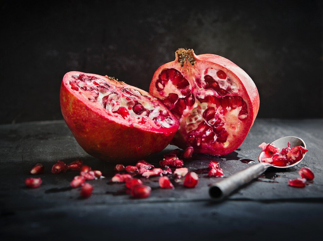 Halved pomegranate