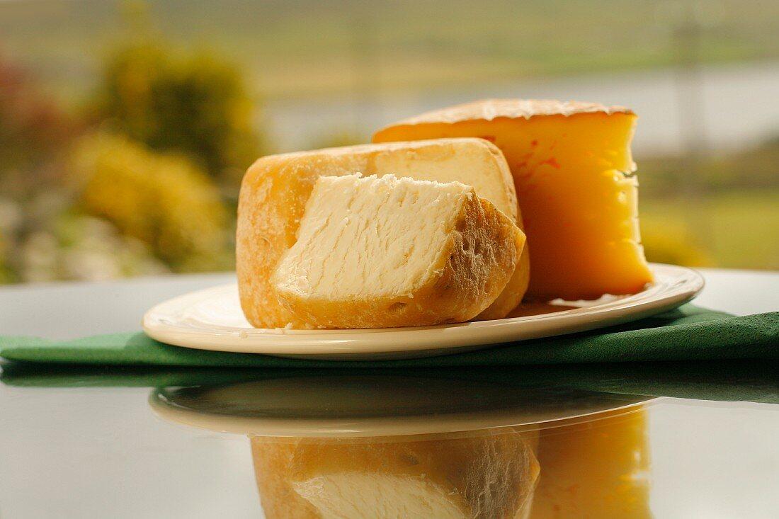 Irish farmhouse cheese on a plate