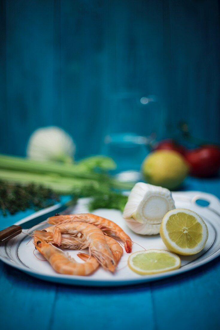 Prawns, fennel, lemons, celery, tomatoes and thyme