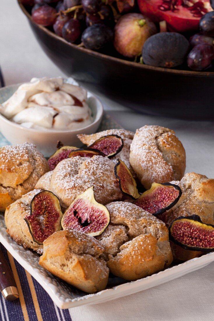 Profiteroles with fig cream