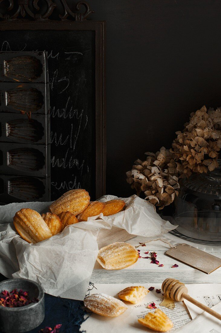 Madeleines with honey and rosewater