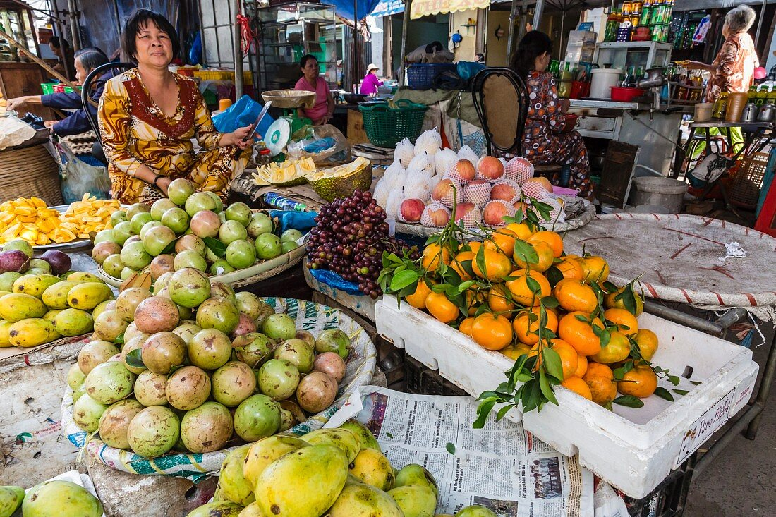 Fresh produce for sale at a market in Chau Doc, Mekong River Delta, Vietnam, Indochina, Southeast Asia
