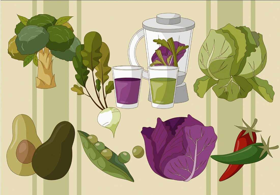 Various types of vegetables and a mixer with vegetable drinks (illustration)