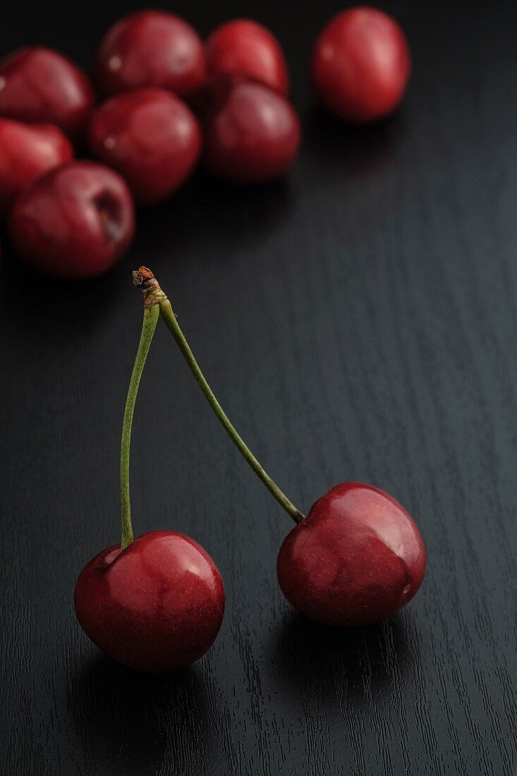 Cherries on a black table