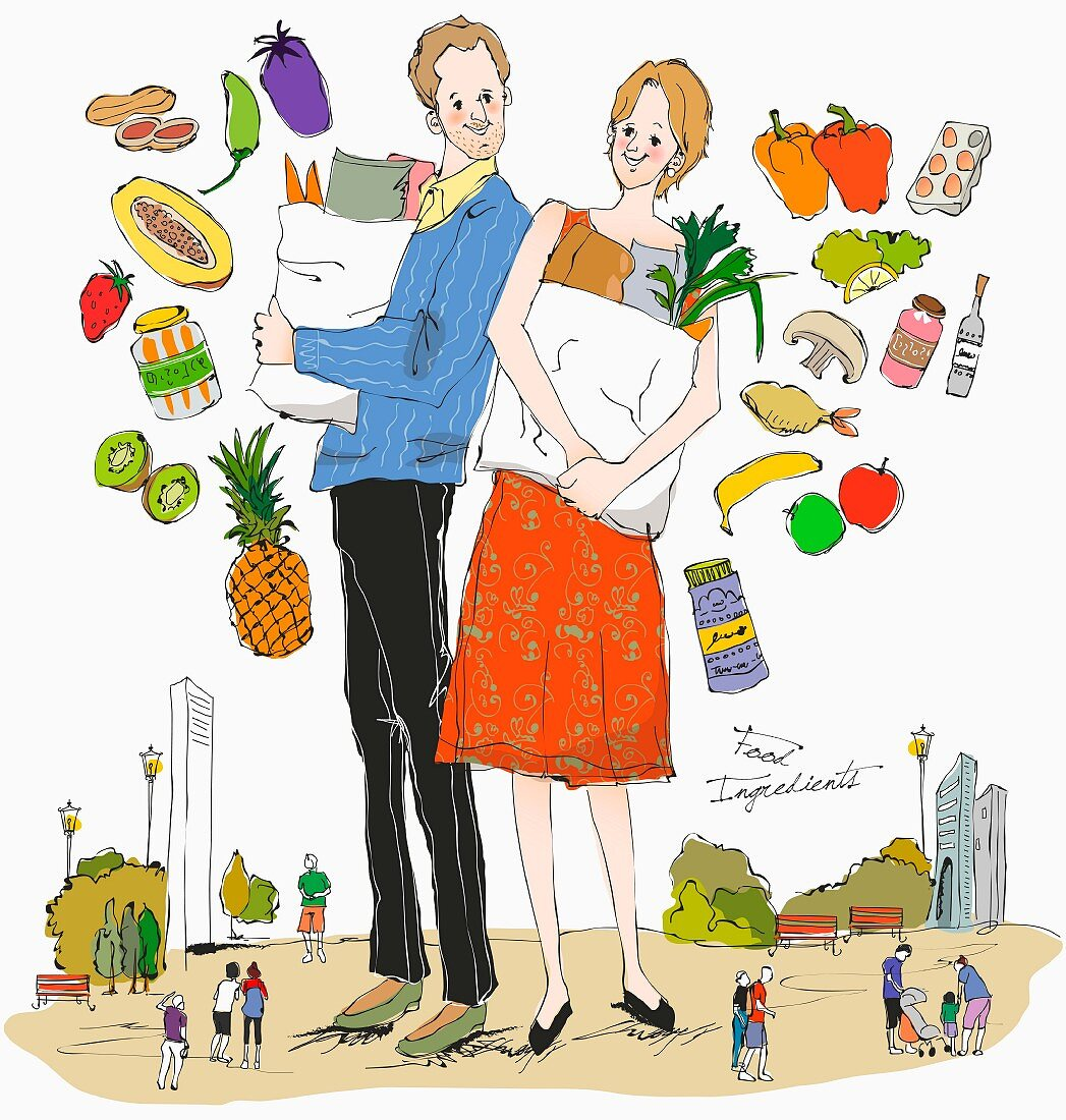 A couple with shopping bags surrounded by healthy food (illustration)
