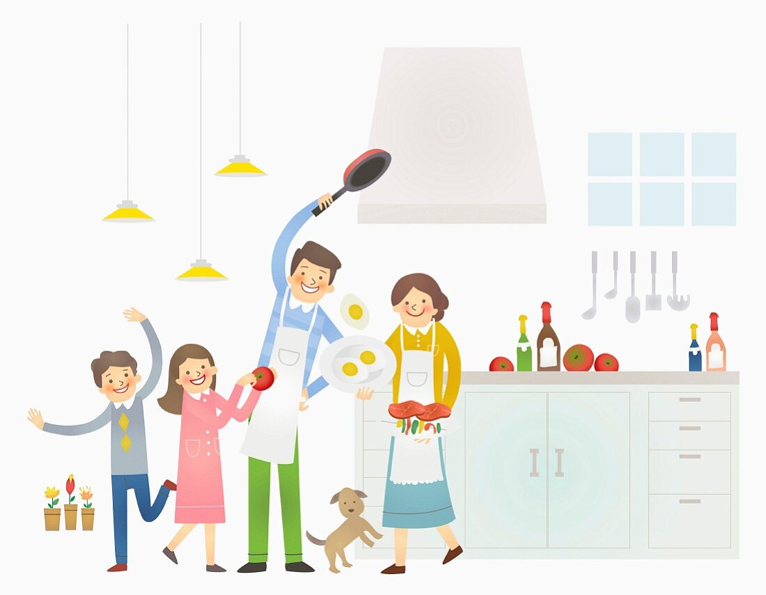 A happy family cooking together in a kitchen (illustration)