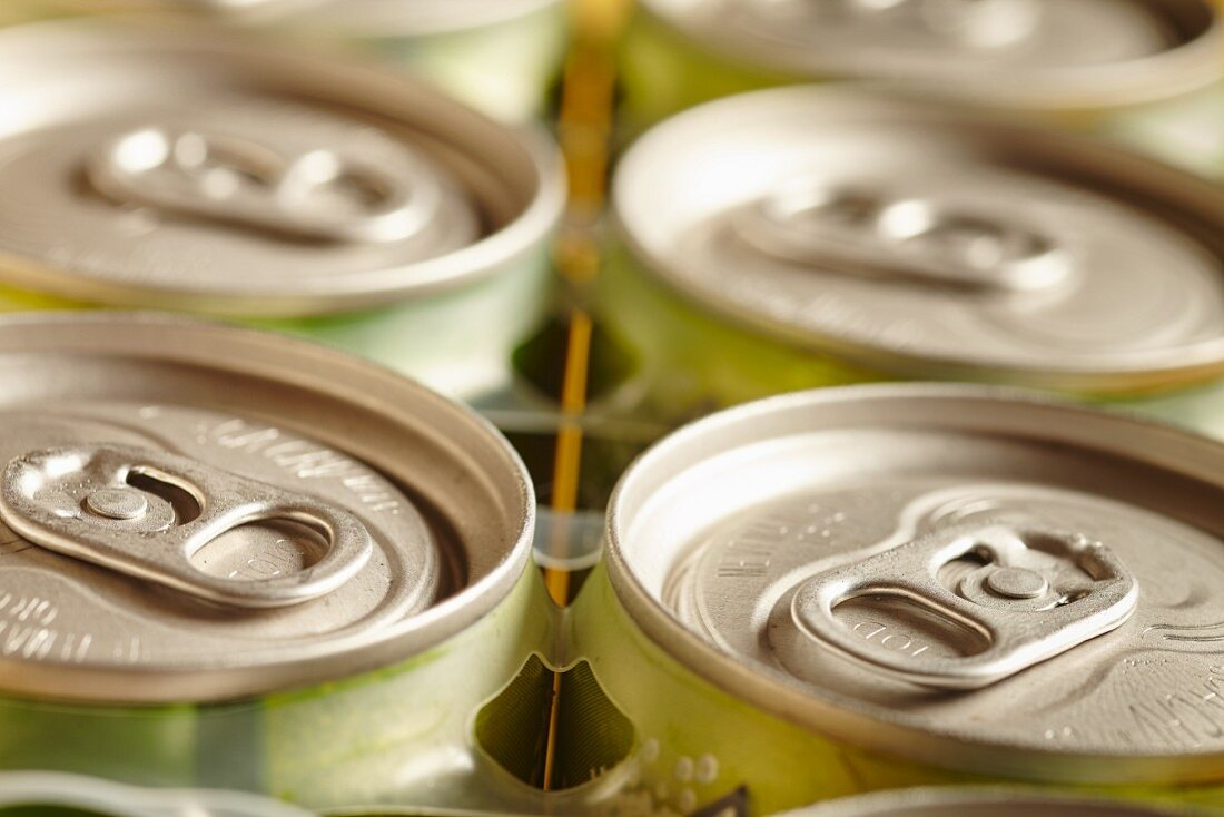 A pack of drinks cans (close-up)