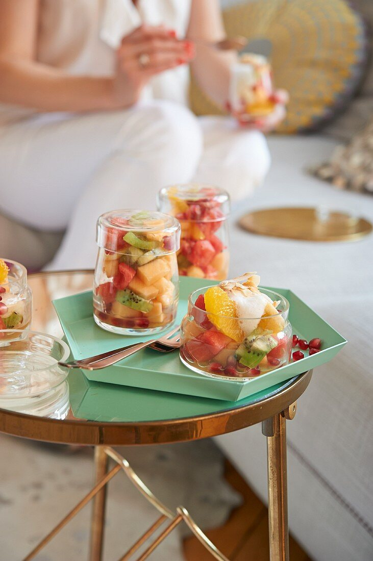 Melon and fruit salad with coconut foam