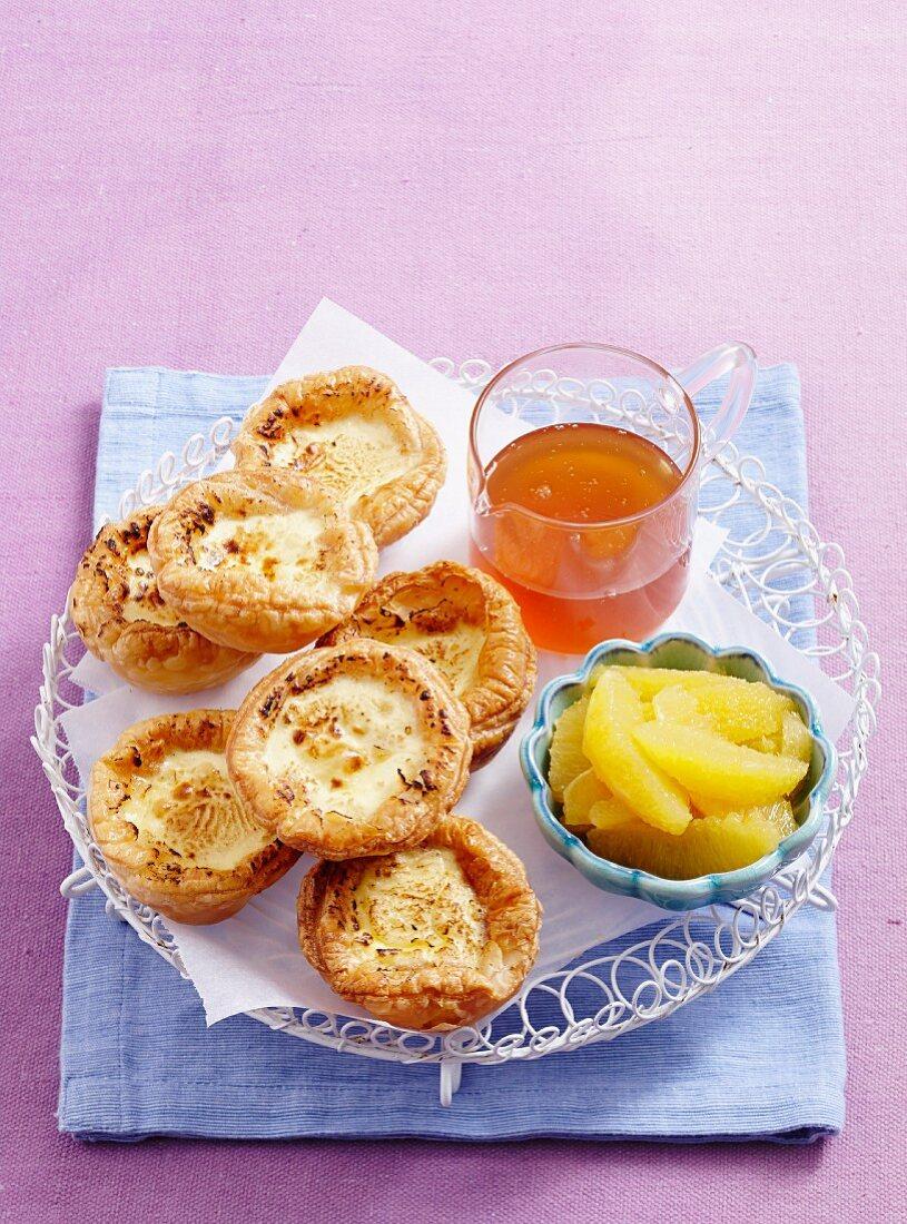 Orange blossom portuguese tarts