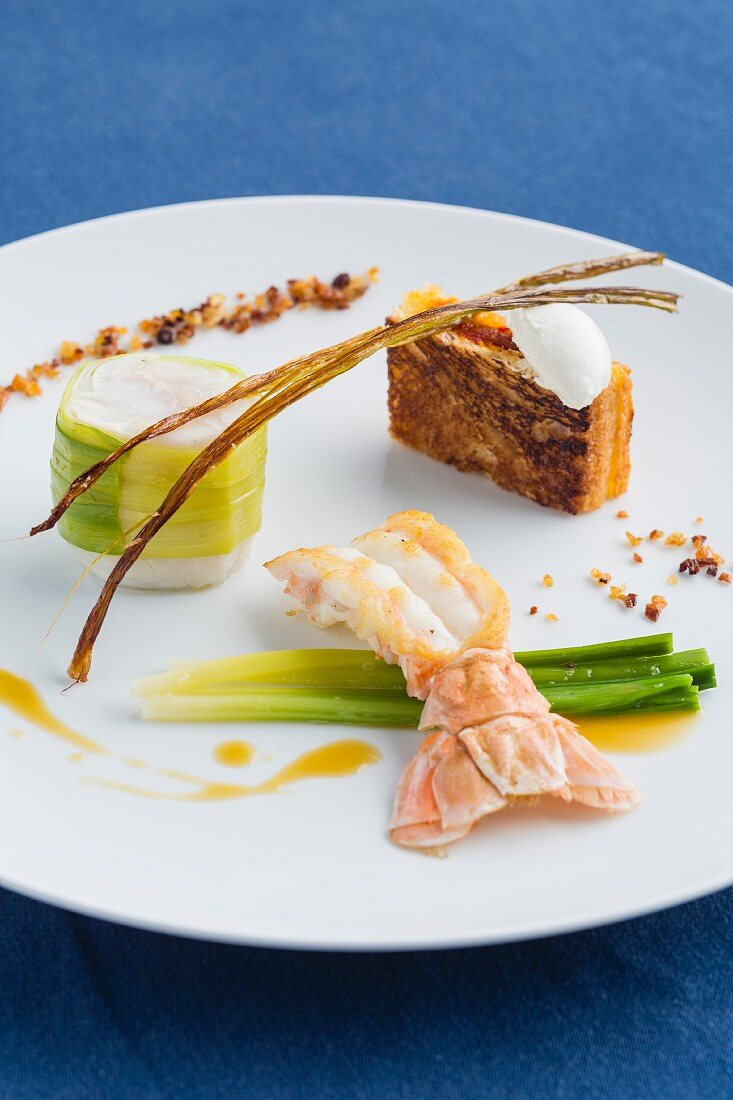 Brill with langoustine, baby leek and pepper confit from the restaurant Ar Men Du, Brittany, France