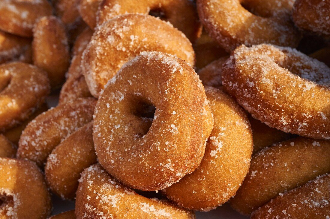 A pile of artisan doughnuts at a market in New York