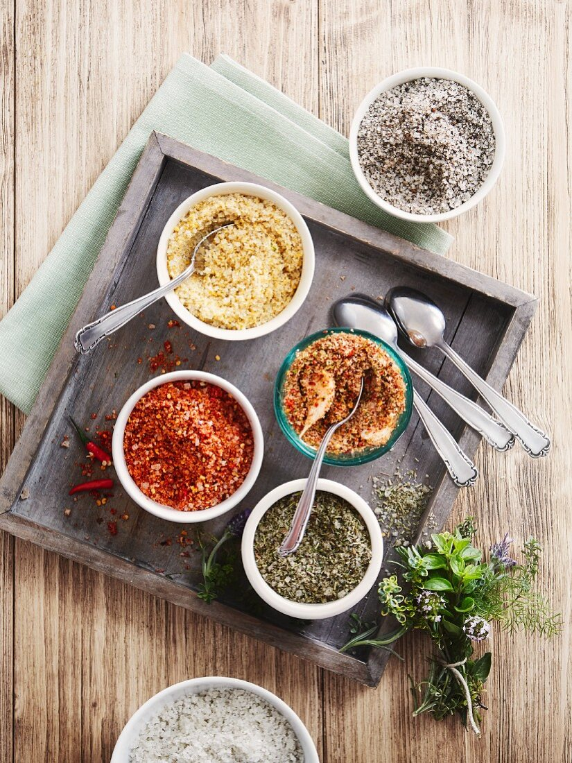 Various spiced salts for grilling