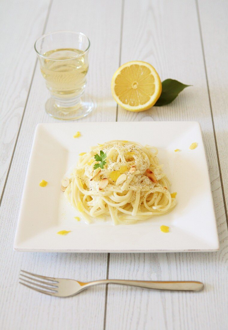 Linguine with lemons, almonds and Pecorino cheese