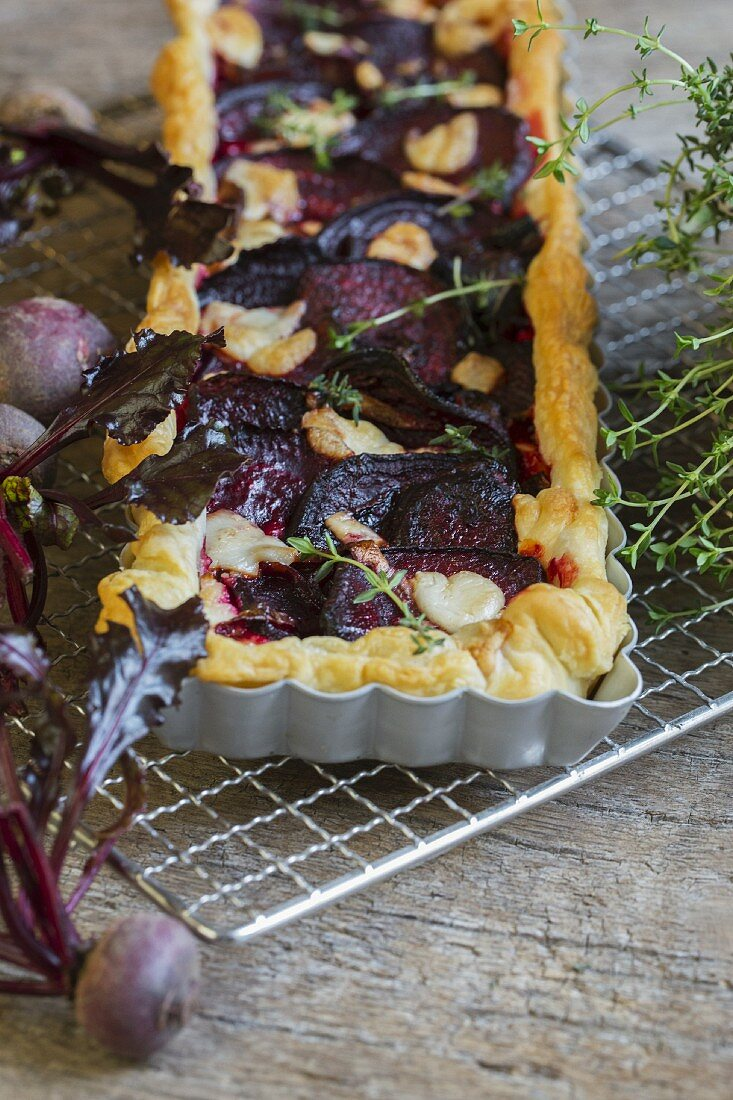 Beetroot quiche with feta cheese and thyme