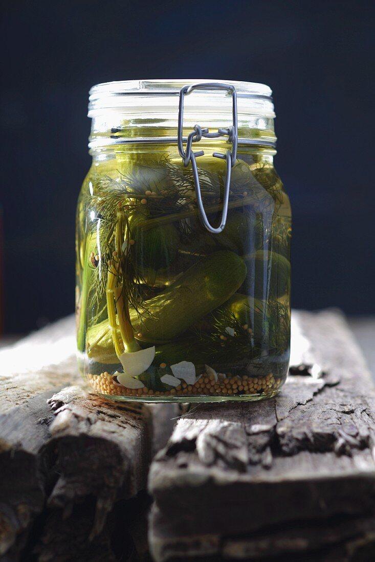 A jar of gherkins