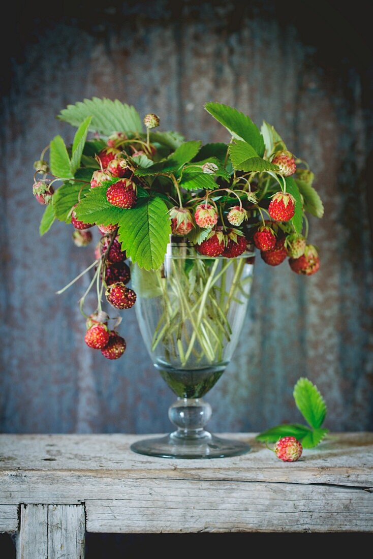 Ripe strawberries in a vintage glass