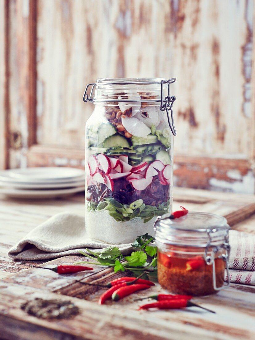 A jar of oriental radish salad