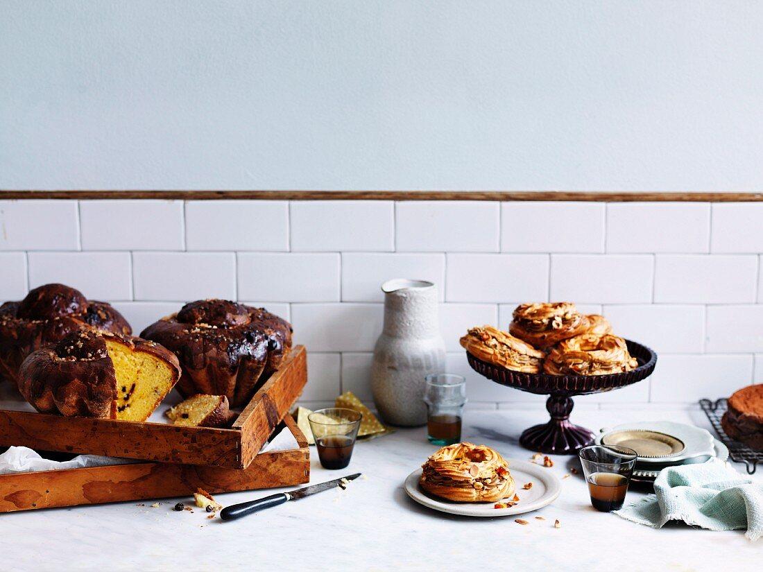 Saffron and sour-cherry bake and Paris Brest