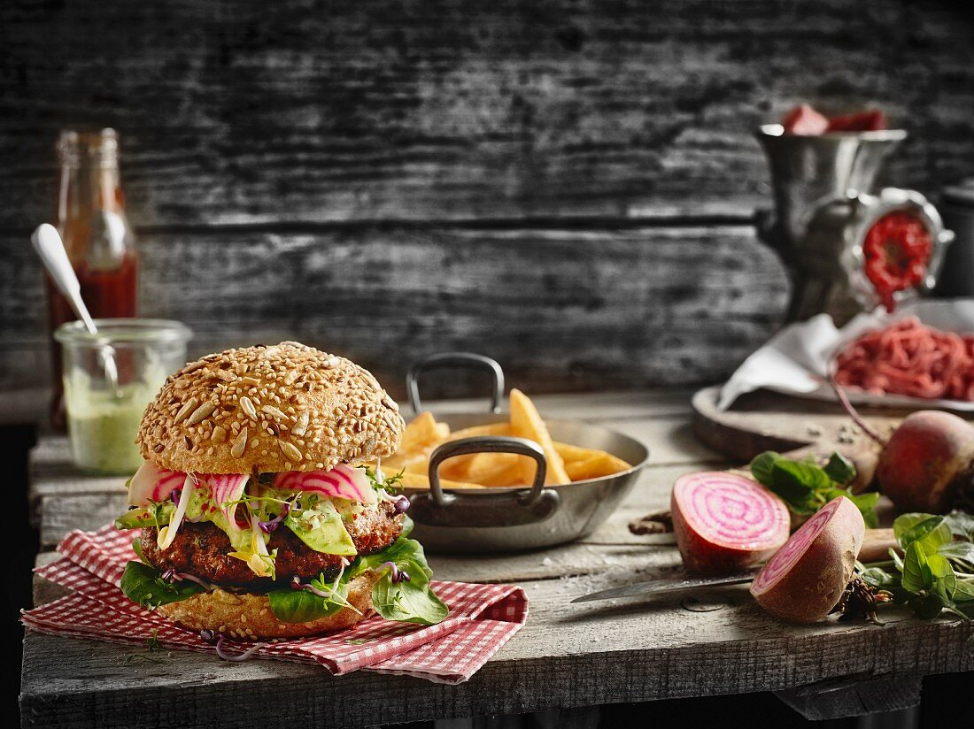 A homemade fitness burger with wholemeal bun, lettuce and beetroot