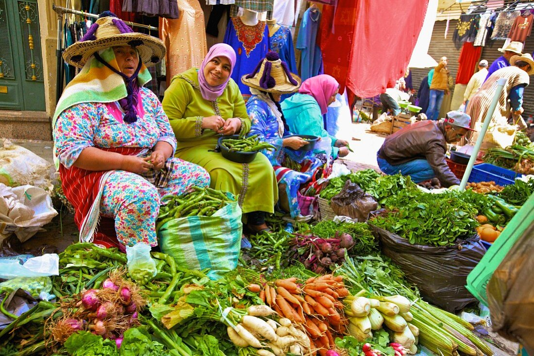 Berbers the vegetable stand in Tangier (Morocco, North Africa)