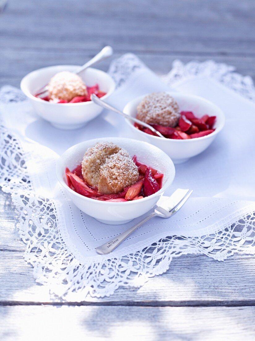 Quark dumplings on rhubarb compote