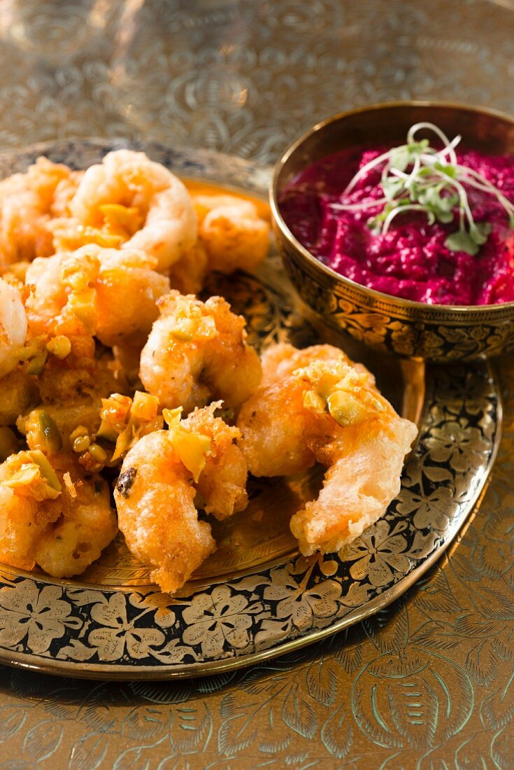 Prawn pakora with a creamy beetroot dip