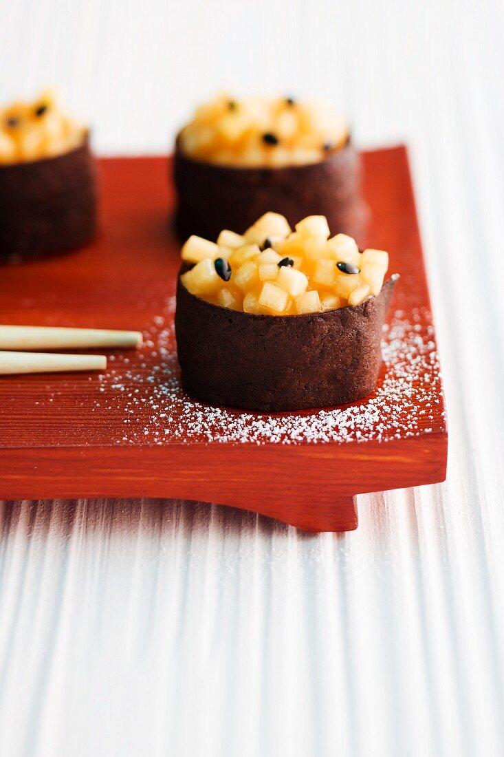 Sweet sushi shaped like gunkan maki sushi