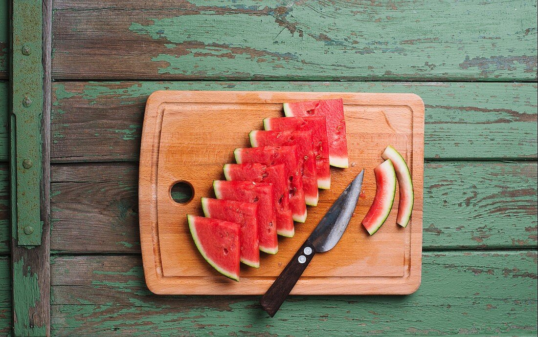 Watermelon are chopping board