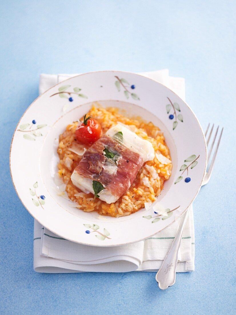Cod saltimbocca one tomato risotto