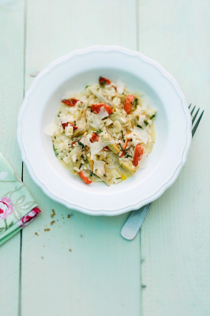 Artichoke risotto with Parmesan cheese (seen above)